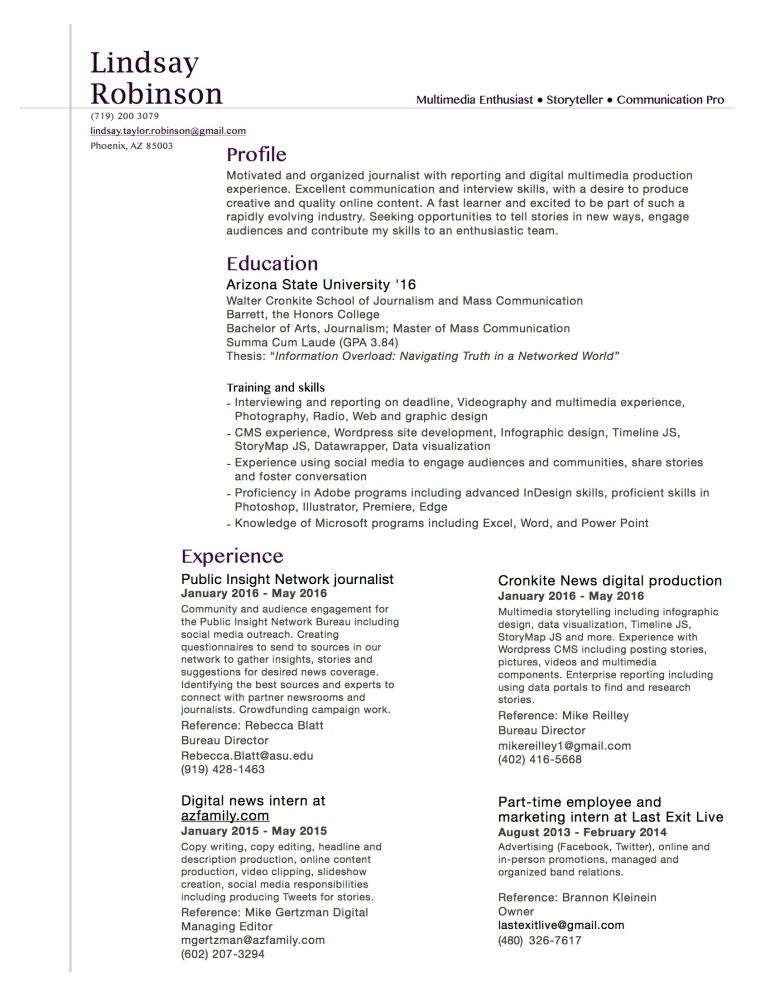 Resume | Lindsay Robinson